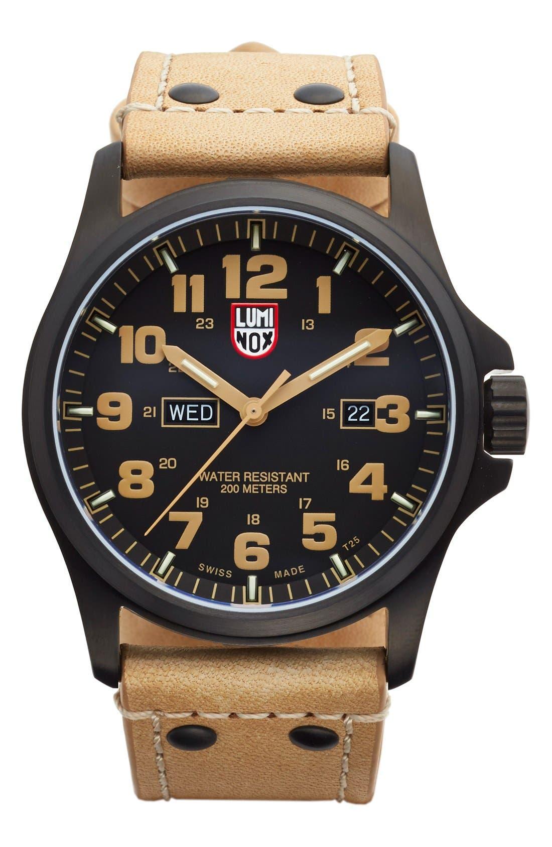 'Land - Atacama Field' Leather Strap Watch, 45mm,                         Main,                         color, Golden Tan/ Black
