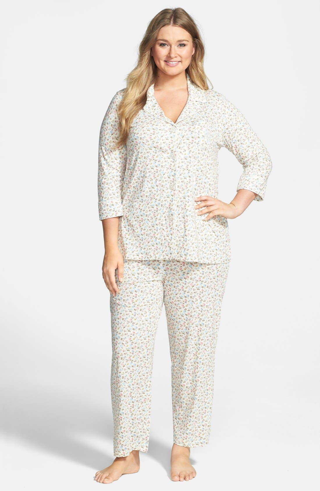 Alternate Image 1 Selected - Lauren Ralph Lauren Jersey Knit Pajamas (Plus Size)