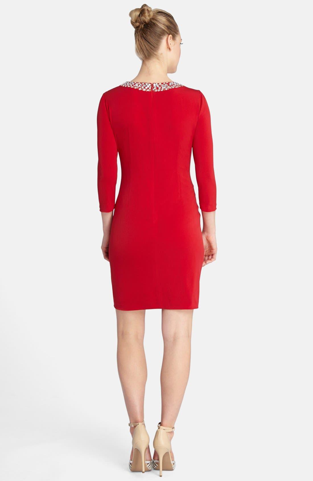 Alternate Image 2  - Tahari Embellished Neck Ruched Jersey Sheath Dress