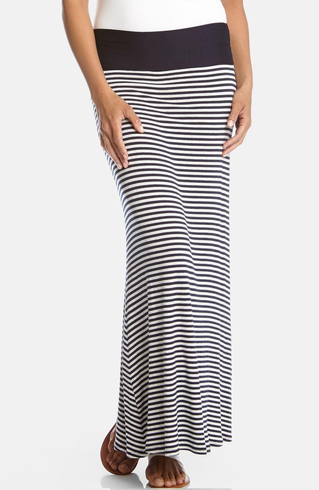 Alternate Image 1 Selected - Karen Kane Contrast Waist Stripe Maxi Skirt