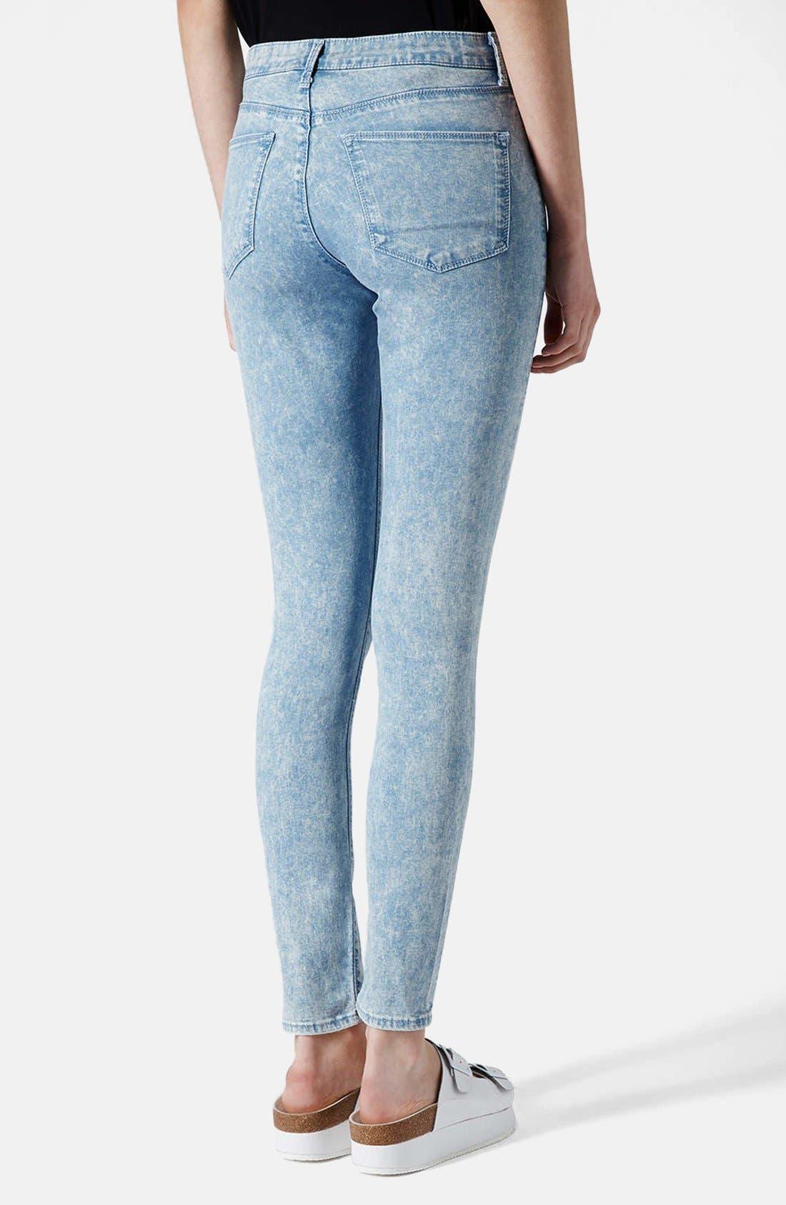 Alternate Image 2  - Topshop Moto 'Leigh' Acid Wash Ripped Skinny Jeans (Light Blue) (Regular & Short)