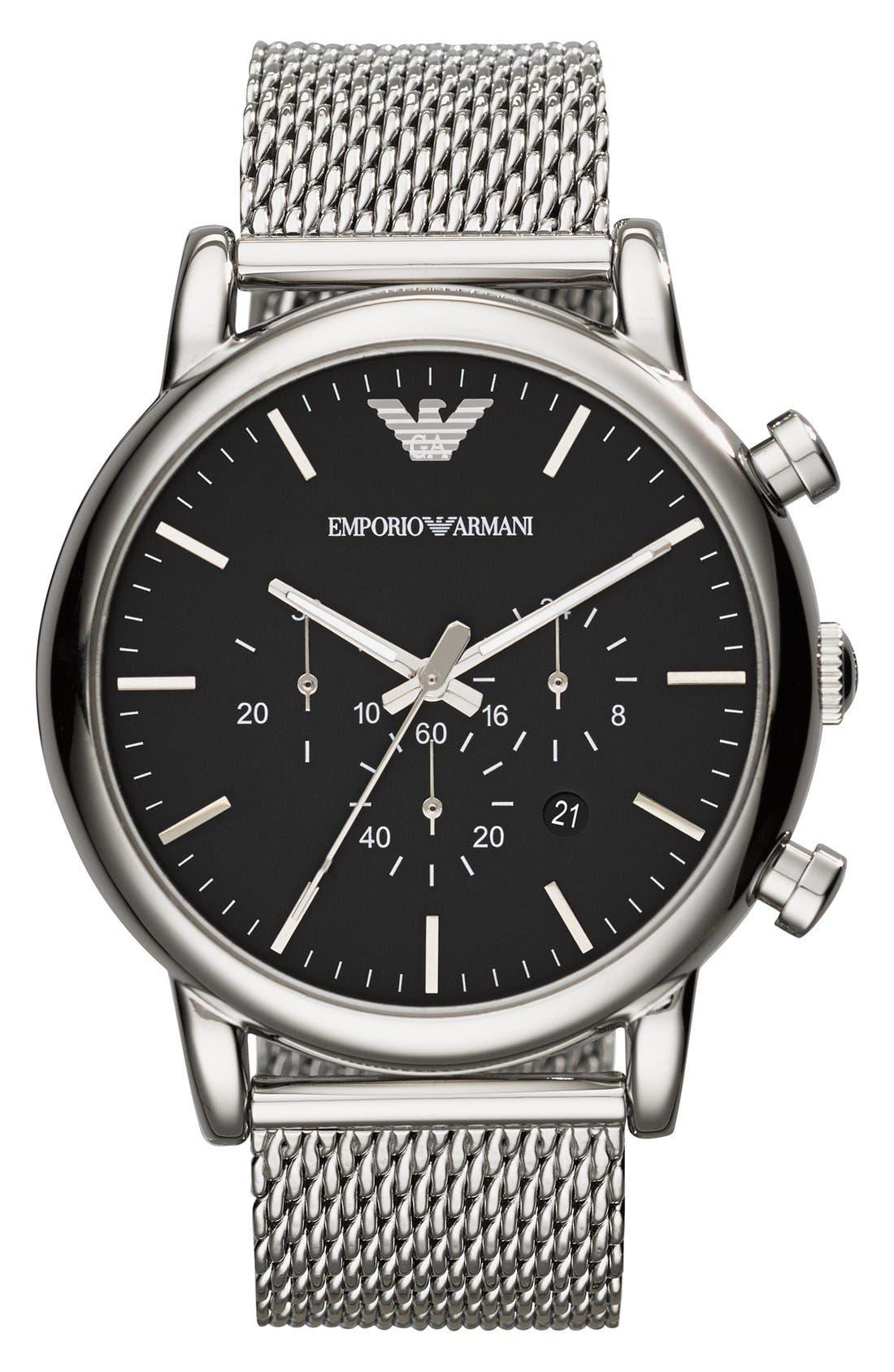 Alternate Image 1 Selected - Emporio Armani Chronograph Mesh Strap Watch, 46mm
