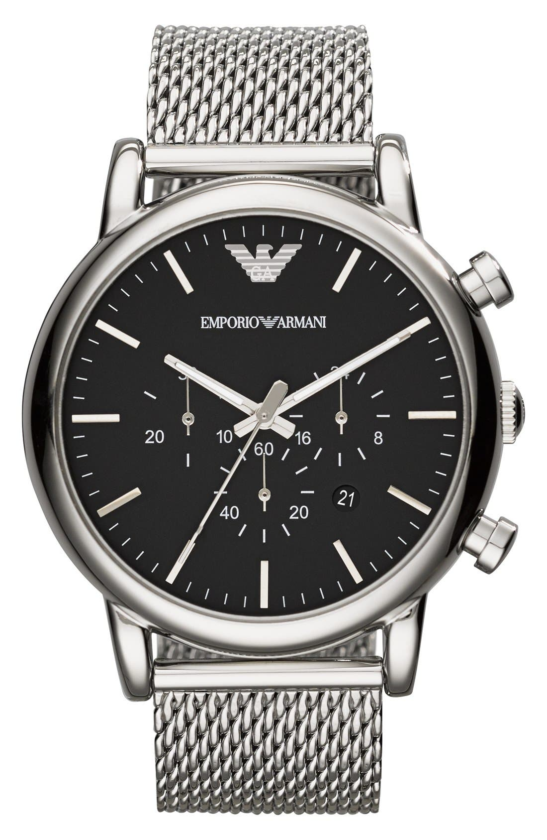 Main Image - Emporio Armani Chronograph Mesh Strap Watch, 46mm
