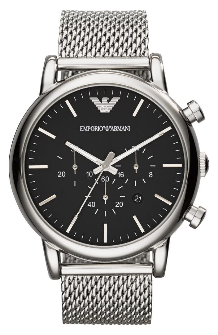 emporio armani chronograph mesh strap watch 46mm nordstrom. Black Bedroom Furniture Sets. Home Design Ideas