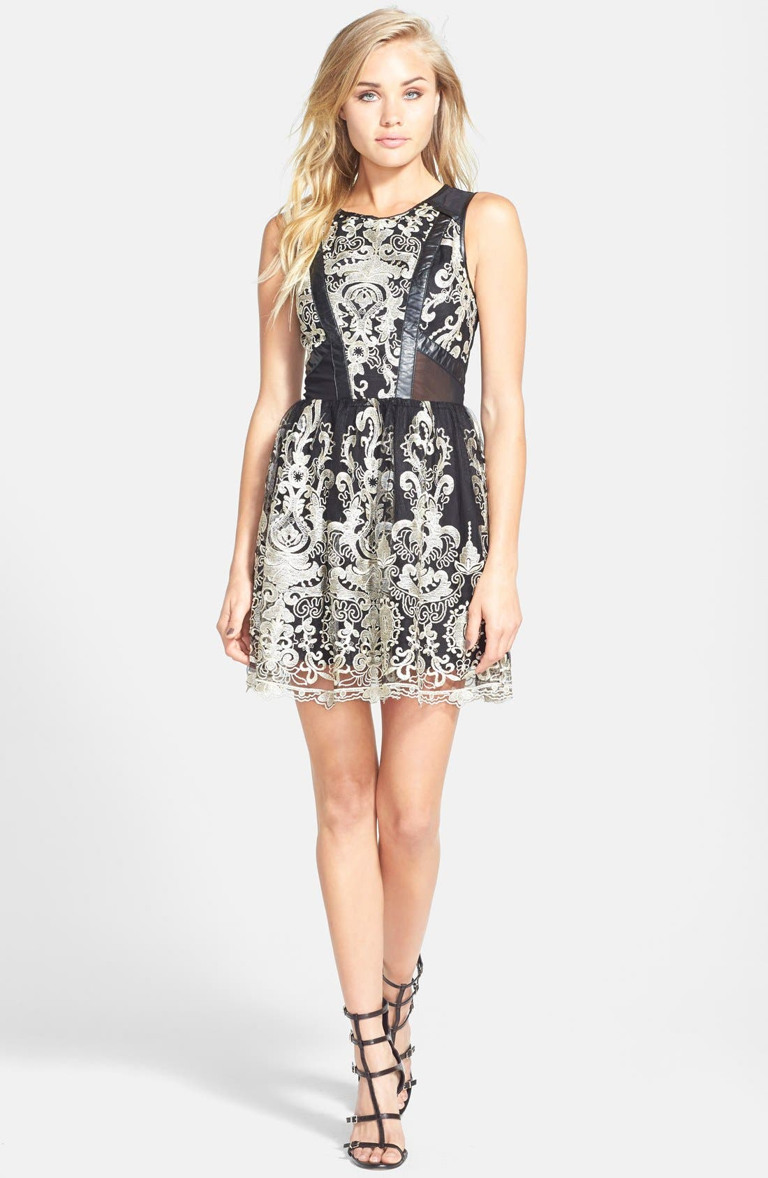 Main Image - ASTR Embroidered Sleeveless Dress (Nordstrom Exclusive)