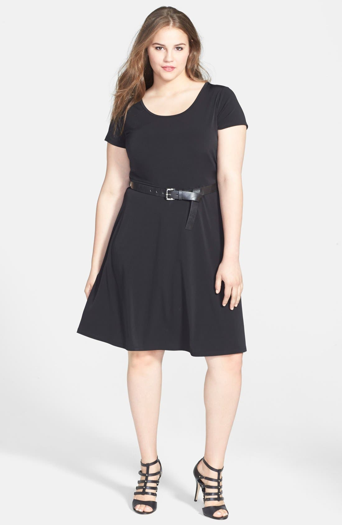 Main Image - MICHAEL Michael Kors Cap Sleeve Belted Fit & Flare Dress (Plus Size)