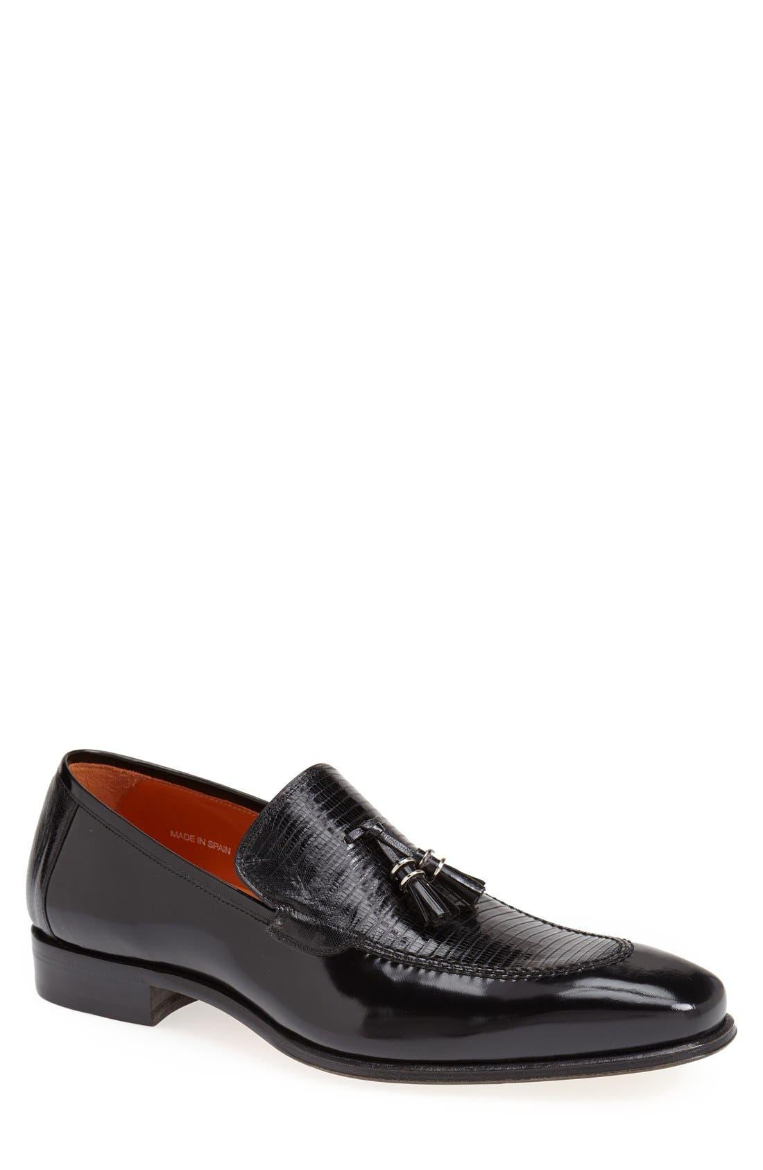 'Obrador' Lizard Leather Tassel Loafer,                             Main thumbnail 1, color,                             Black
