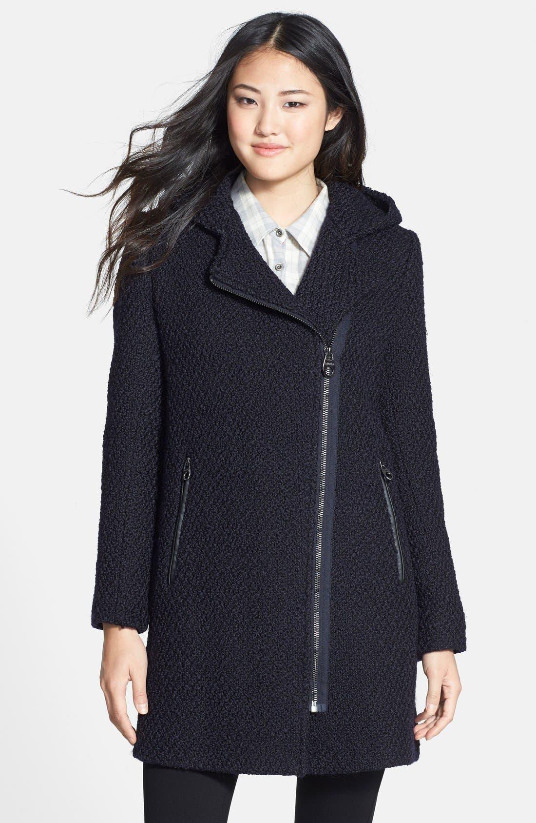 Main Image - Calvin Klein Hooded Asymmetric Zip Bouclé Coat