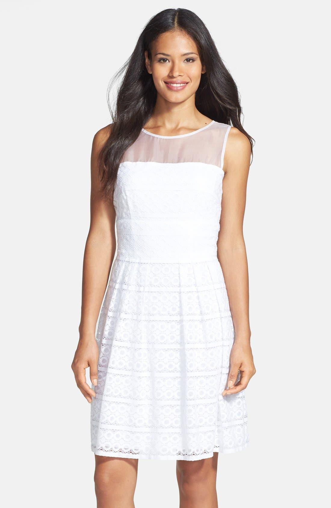 Main Image - Donna Ricco Organza & Lace Dress