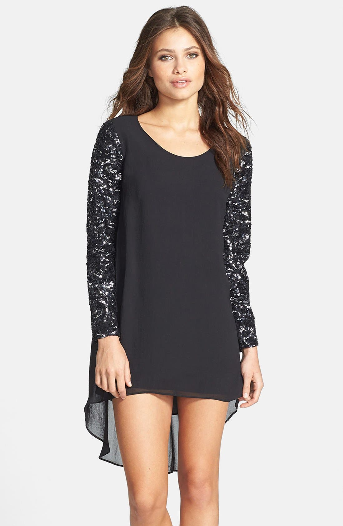 Main Image - Dress the Population 'April' Sequin Sleeve High/Low Chiffon Shift Dress
