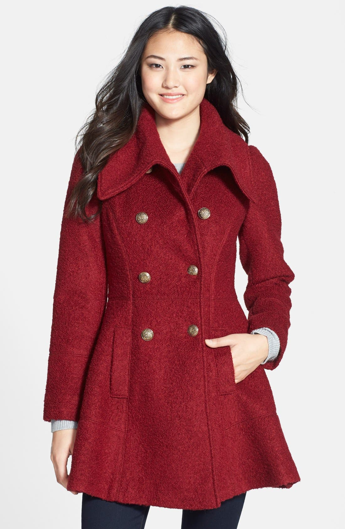 GUESS Double Breasted Bouclé Coat (Regular & Petite)