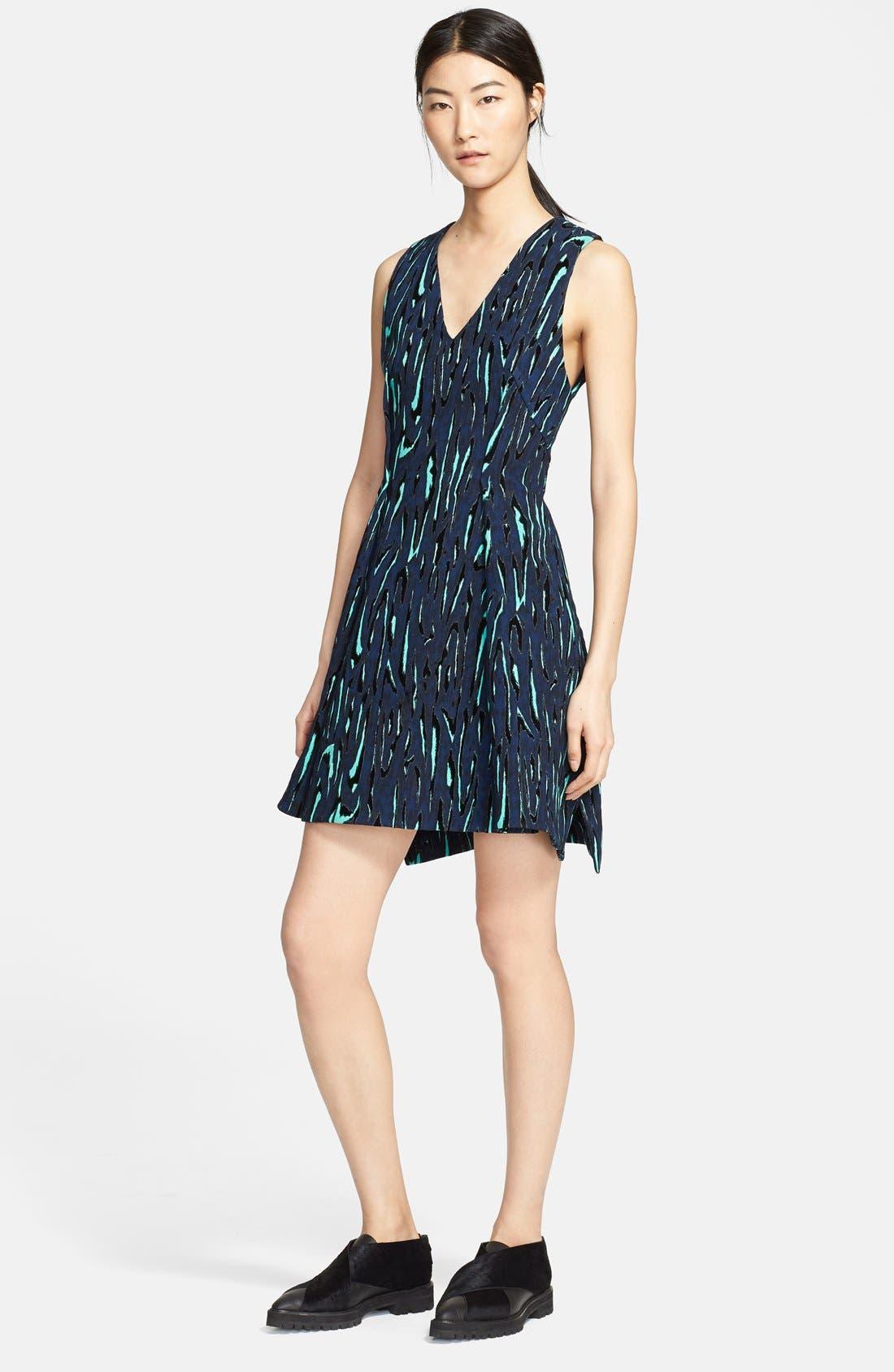 Alternate Image 1 Selected - Proenza Schouler Moiré Print Fit & Flare Dress