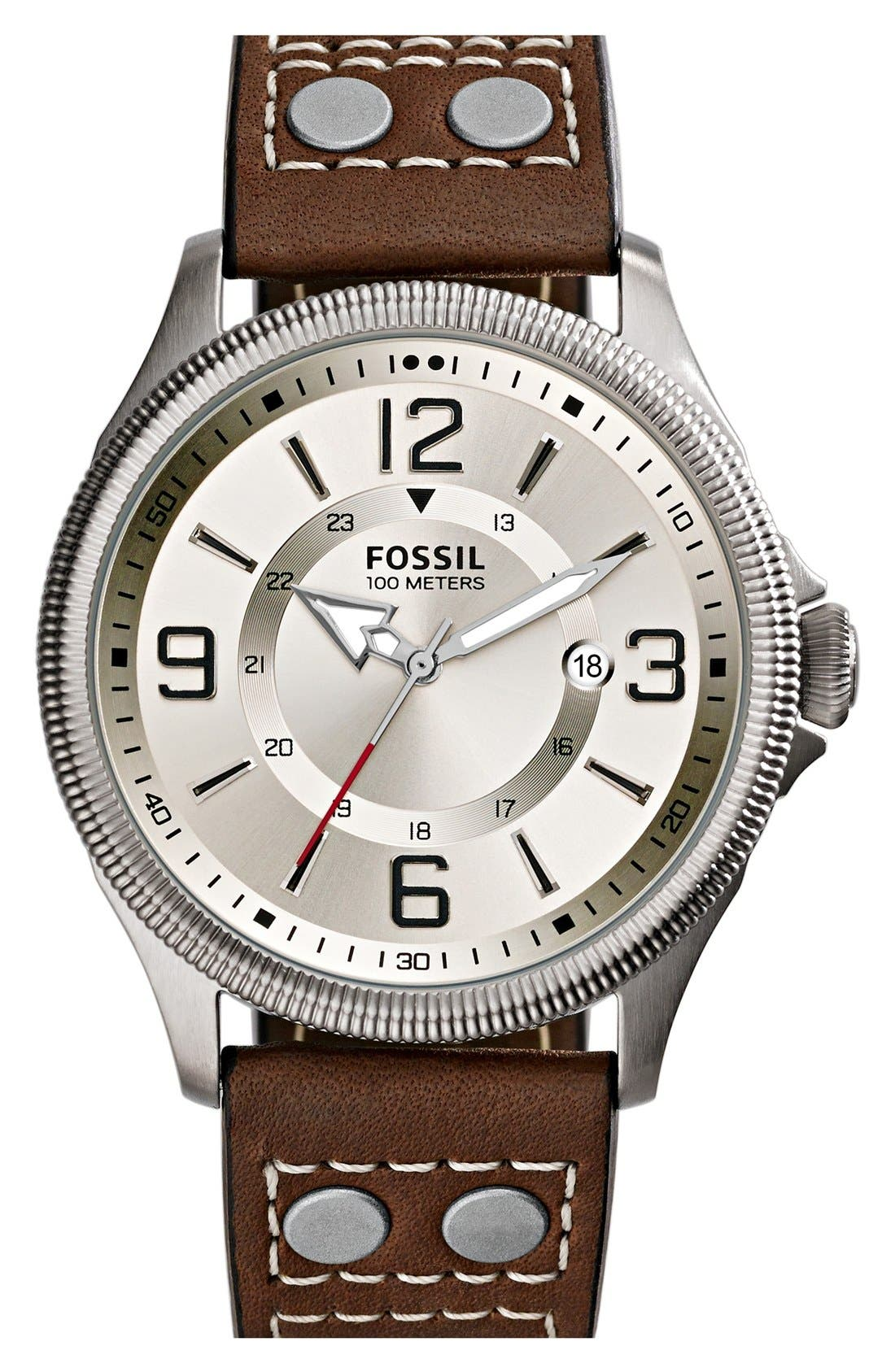 Main Image - Fossil 'Recruiter' Leather Strap Watch, 42mm