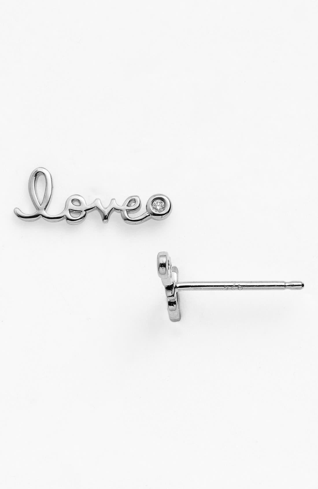 'Love' Diamond Stud Earrings,                             Main thumbnail 1, color,                             Silver