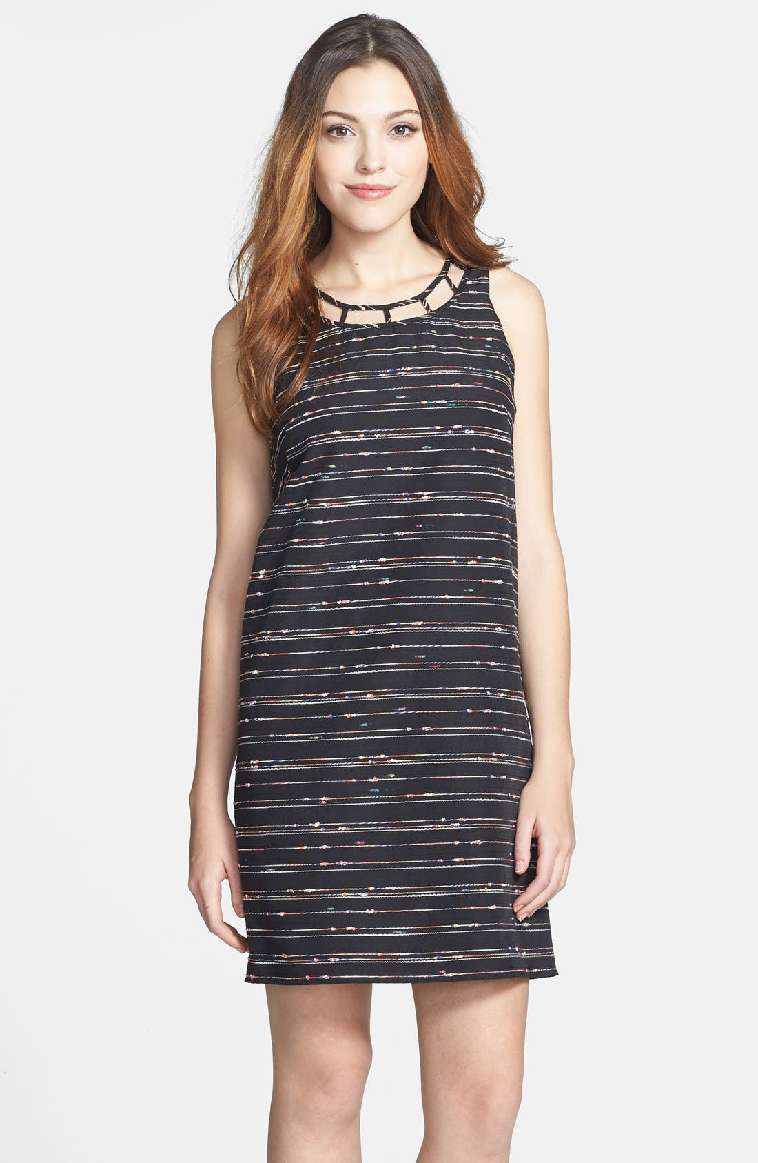 Main Image - Vince Camuto Caged Neck Woven Shift Dress