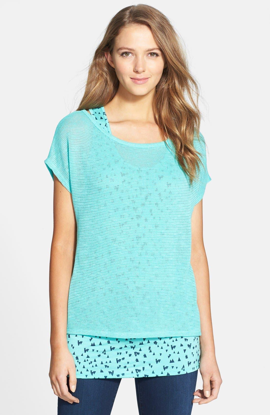 Alternate Image 1 Selected - Olivia Moon Contrast Layer Knit Top (Regular & Petite)