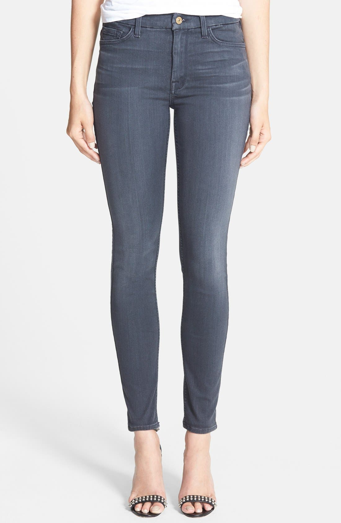 Main Image - 7 For All Mankind® High Waist Ankle Skinny Jeans (Bastille Grey)
