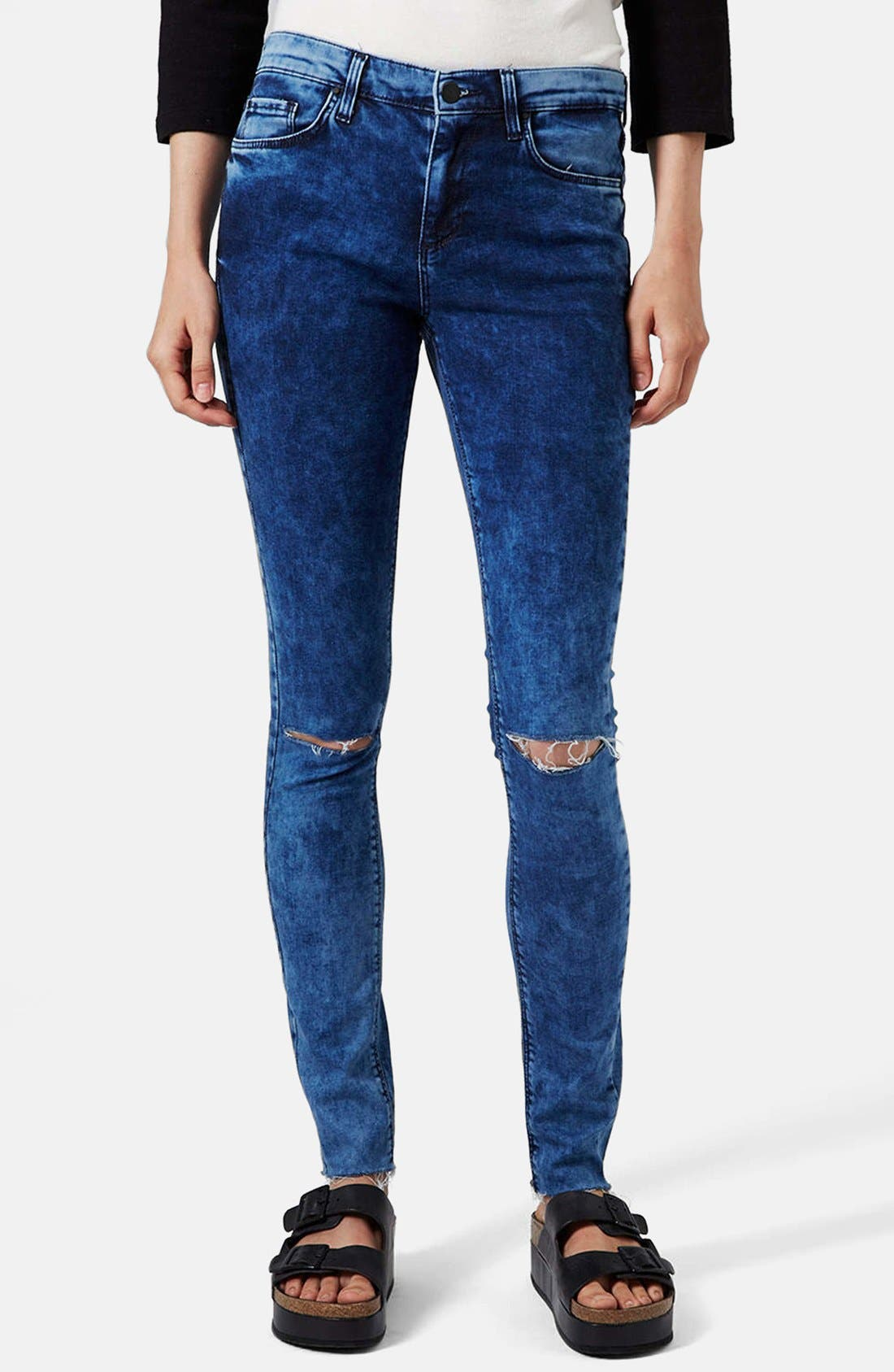 Main Image - Topshop Moto 'Leigh' Ankle Skinny Jeans (Navy Blue)