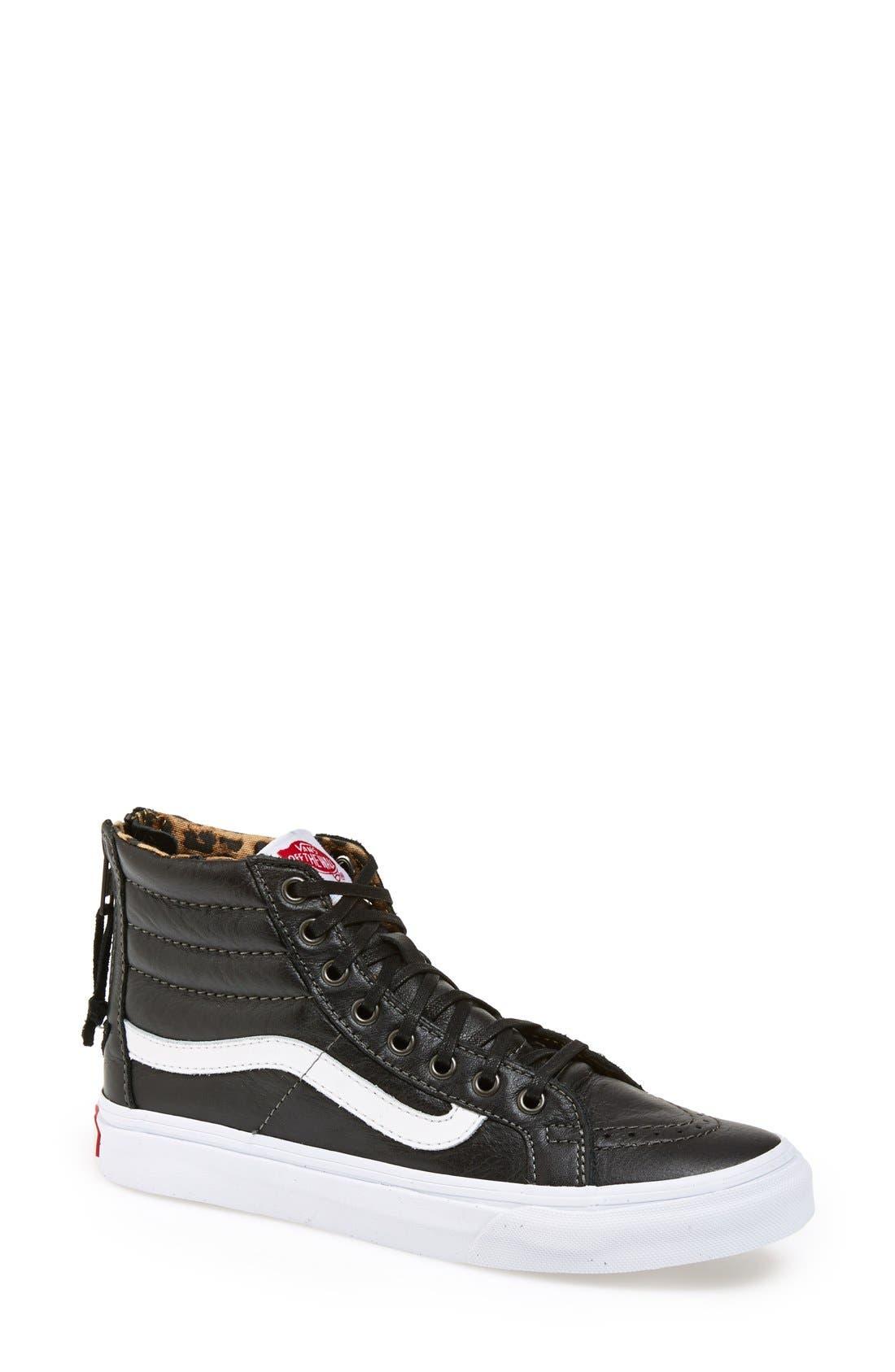 vans leather sk8-hi slim zip womens shoes