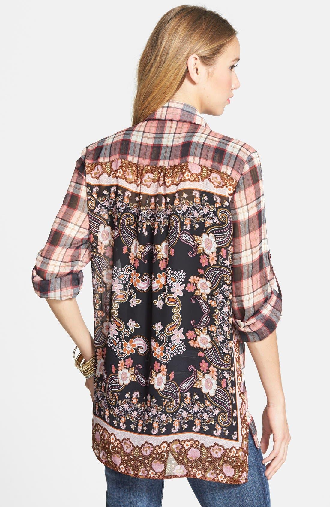 Alternate Image 2  - Band of Gypsies Mix Pattern Shirt (Juniors)