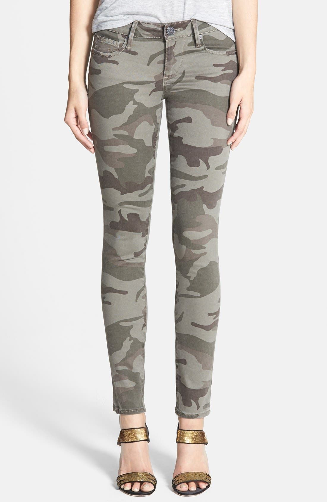 True Religion Brand Jeans Casey Print Super Skinny Jeans (Olive Camo)