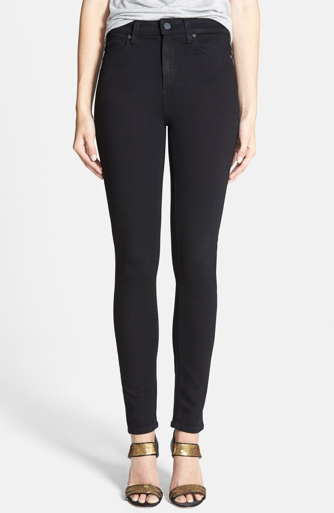 Main Image - PAIGE Margot High Waist Ultra Skinny Jeans (Black Shadow)