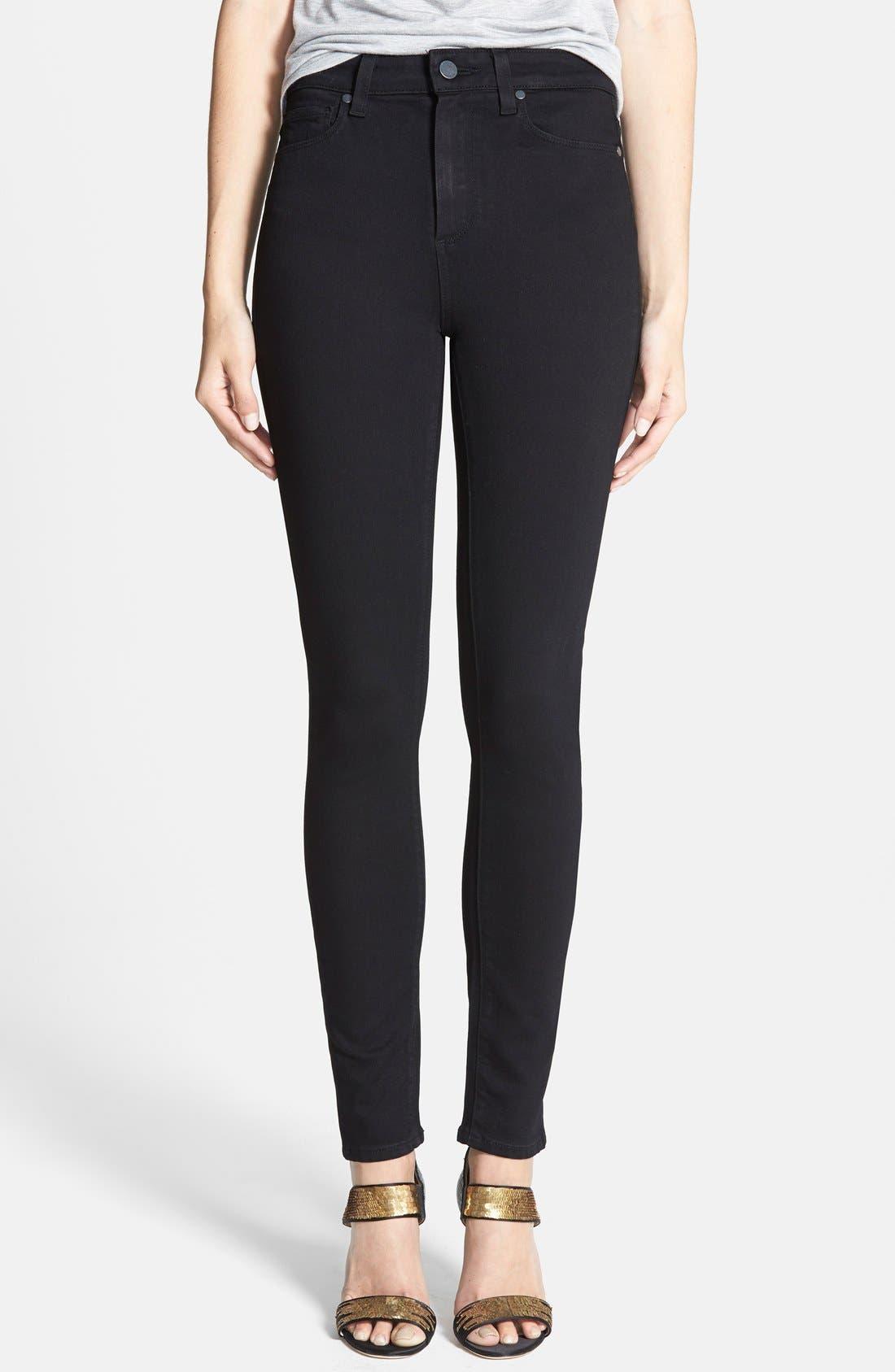 Margot High Waist Ultra Skinny Jeans,                         Main,                         color, Black Shadow