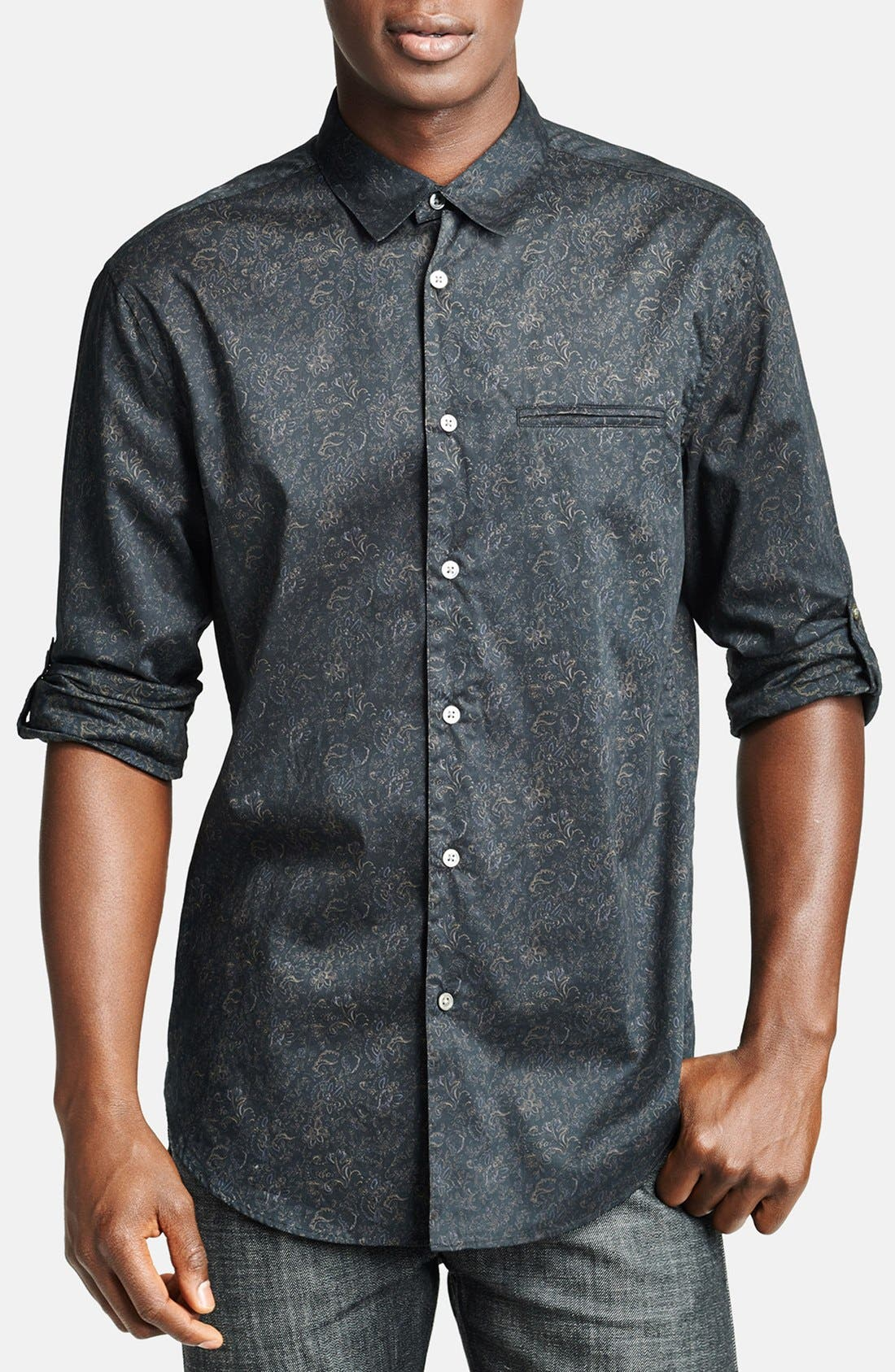 Main Image - John Varvatos Collection Slim Fit Floral Print Cotton Shirt with Button Tab Sleeves