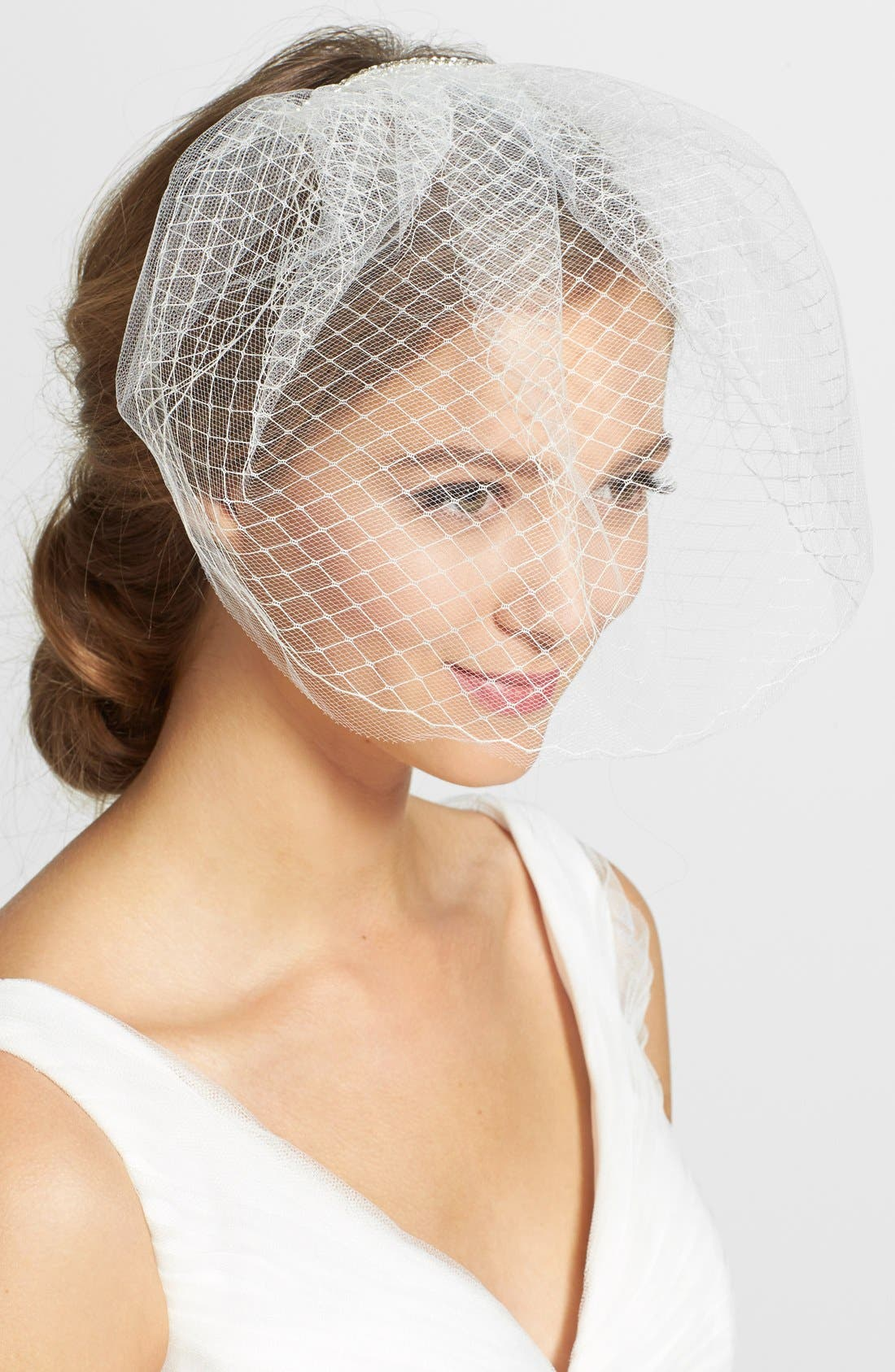 Main Image - J-Picone Crystal Embellished Tulle Blusher/Birdcage Veil