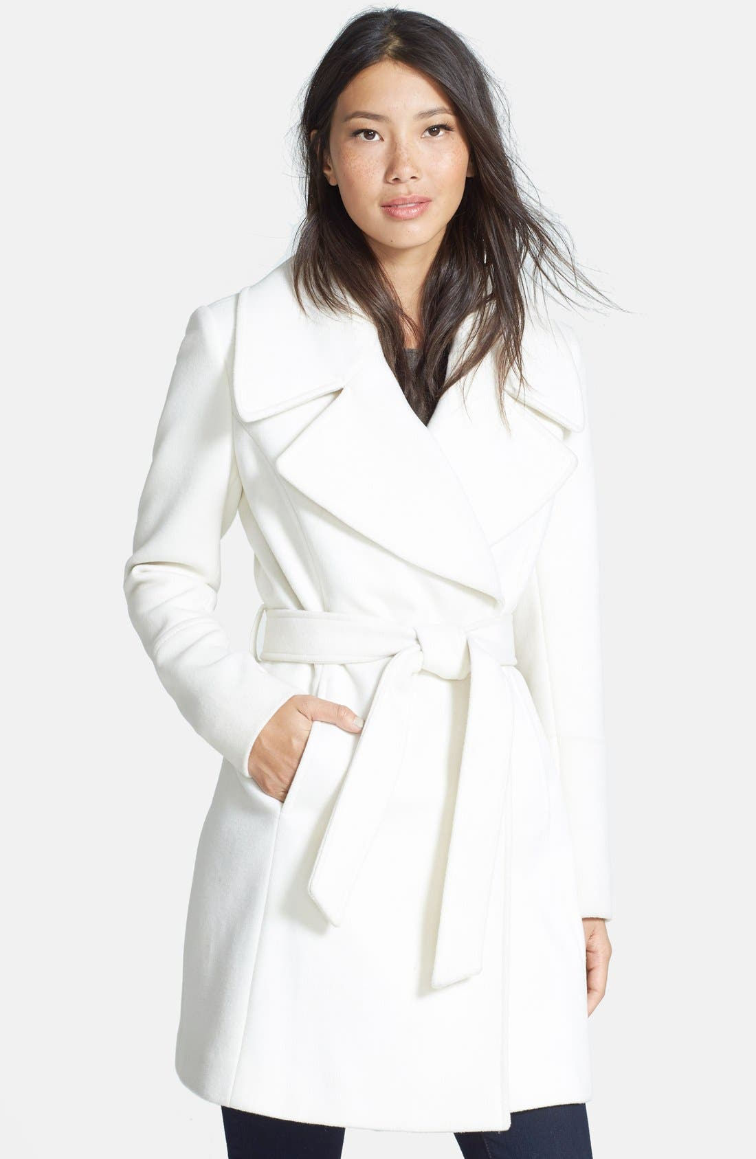Alternate Image 1 Selected - T Tahari Belted Notch Collar Wool Blend Coat