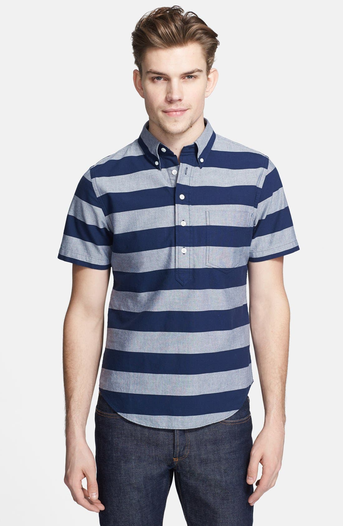 Alternate Image 1 Selected - Jack Spade 'Percy' Short Sleeve Stripe Pullover Shirt