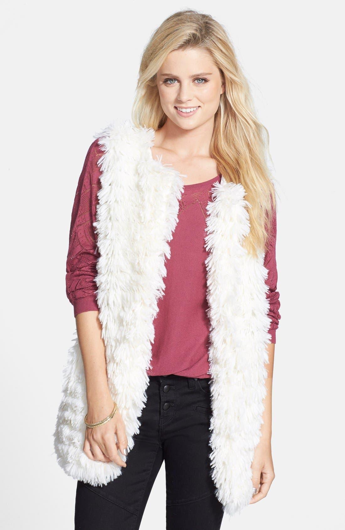 Alternate Image 1 Selected - Jolt Faux Fur Vest (Juniors)