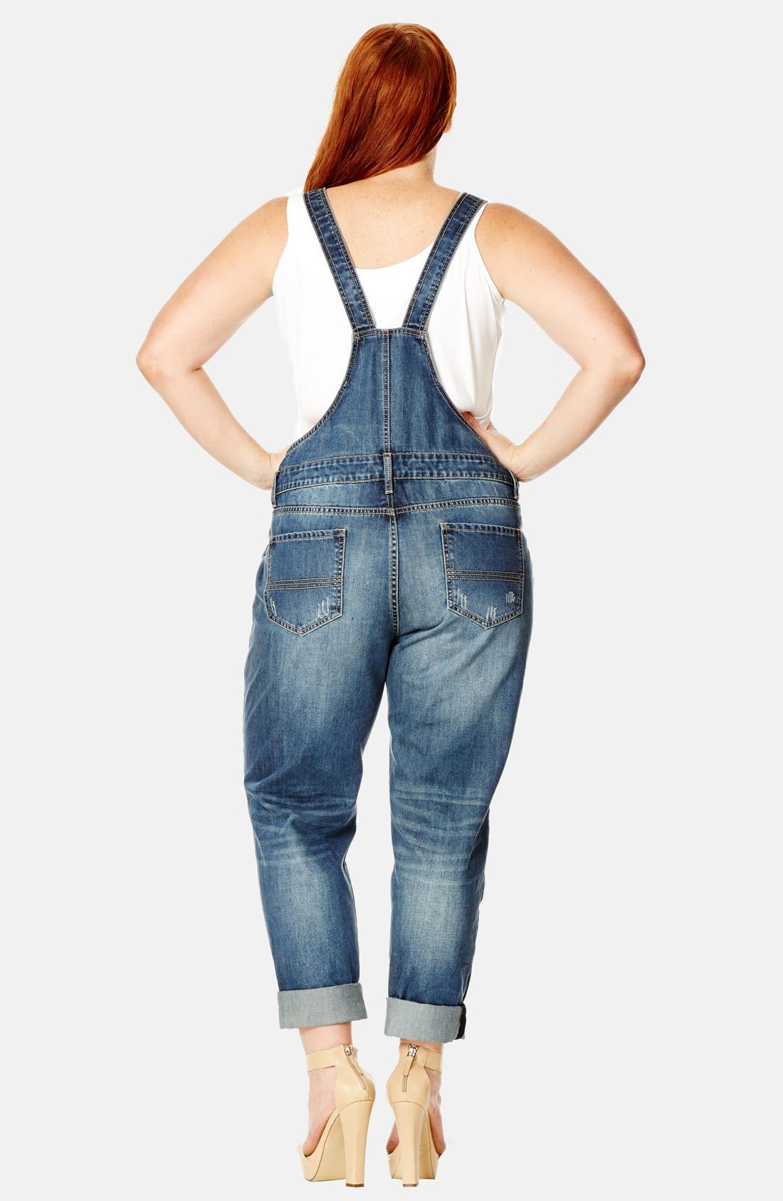 Alternate Image 2  - City Chic 'Over It All' Distressed Denim Overalls (Plus Size)