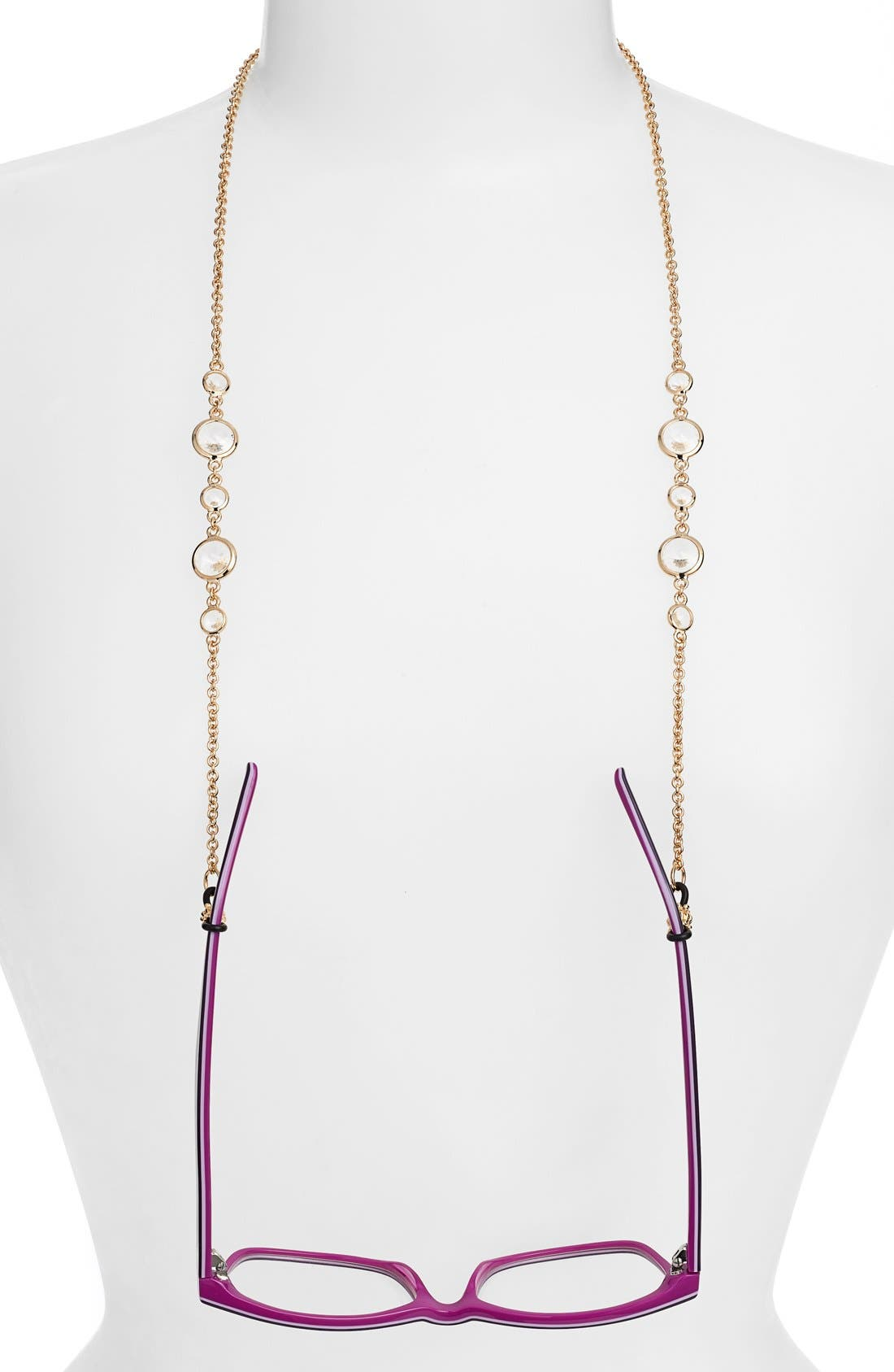 'Daphanie' Eyeglass Chain,                             Main thumbnail 1, color,                             Crystal/ Gold