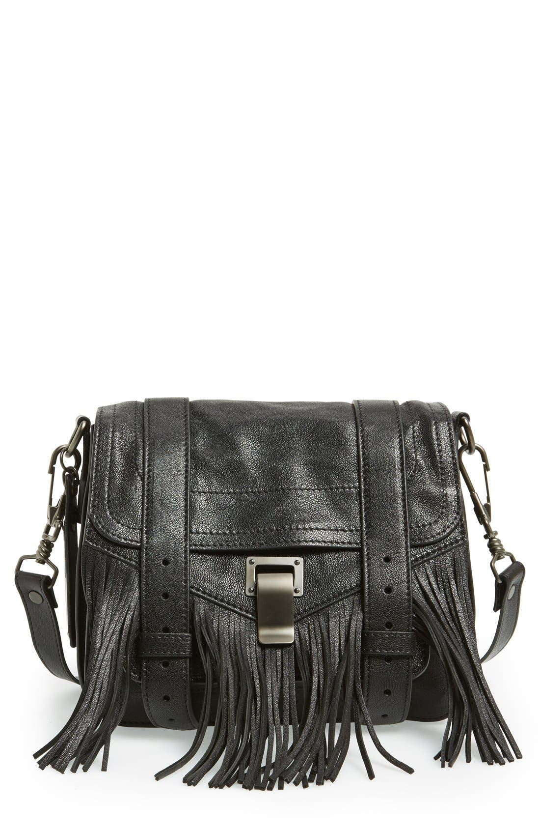 'PS1' Fringed Crossbody Pouch,                             Main thumbnail 1, color,                             Black