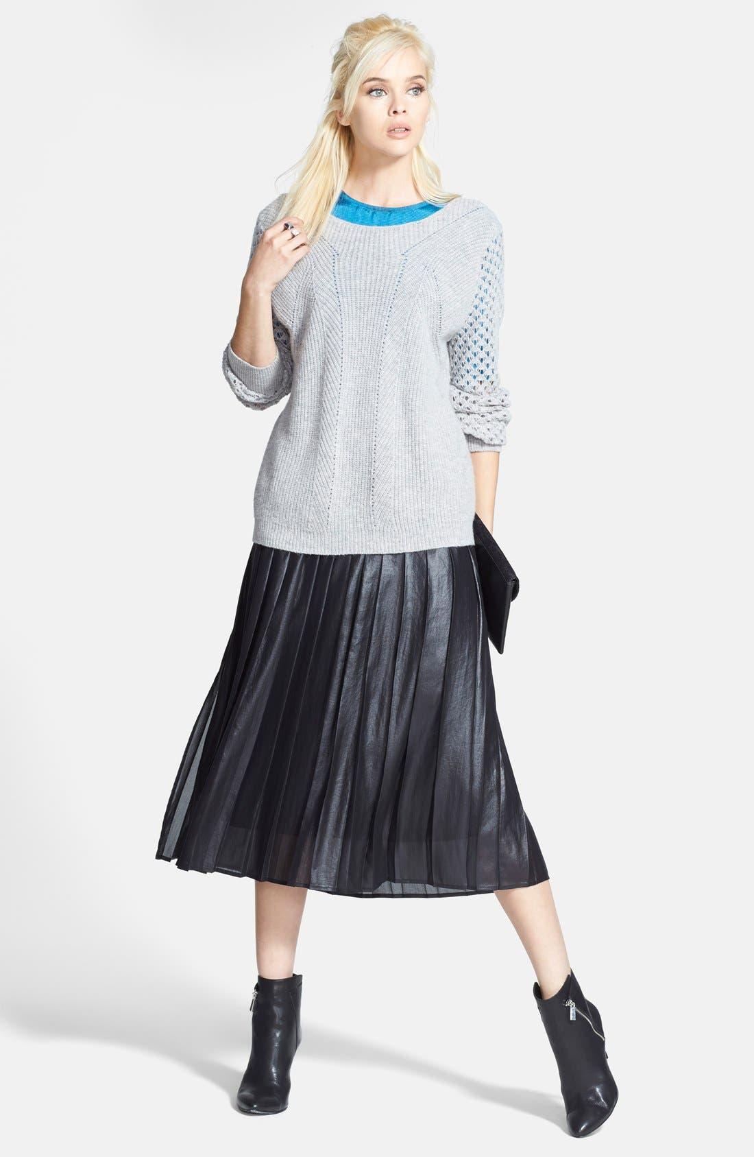 Pleat Midi Skirt,                             Alternate thumbnail 7, color,                             Coated Black