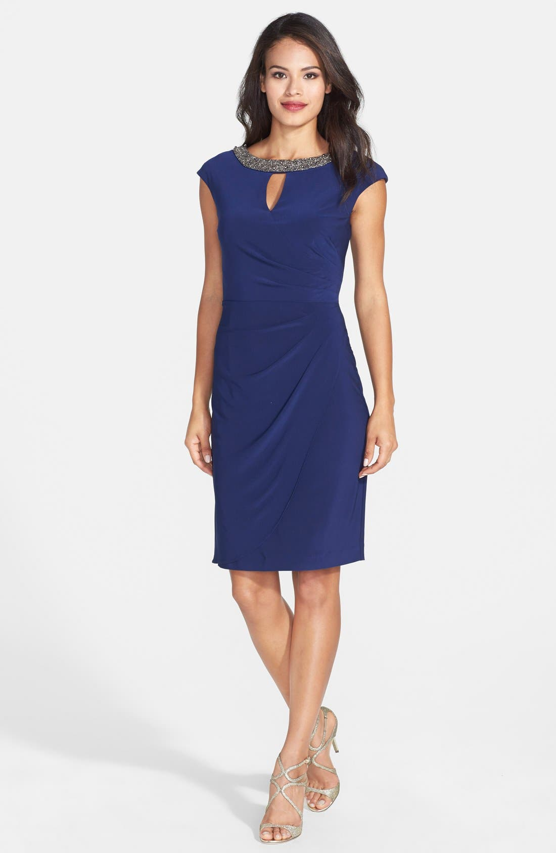Alternate Image 3  - Alex Evenings Embellished Neck Jersey Sheath Dress (Regular & Petite)