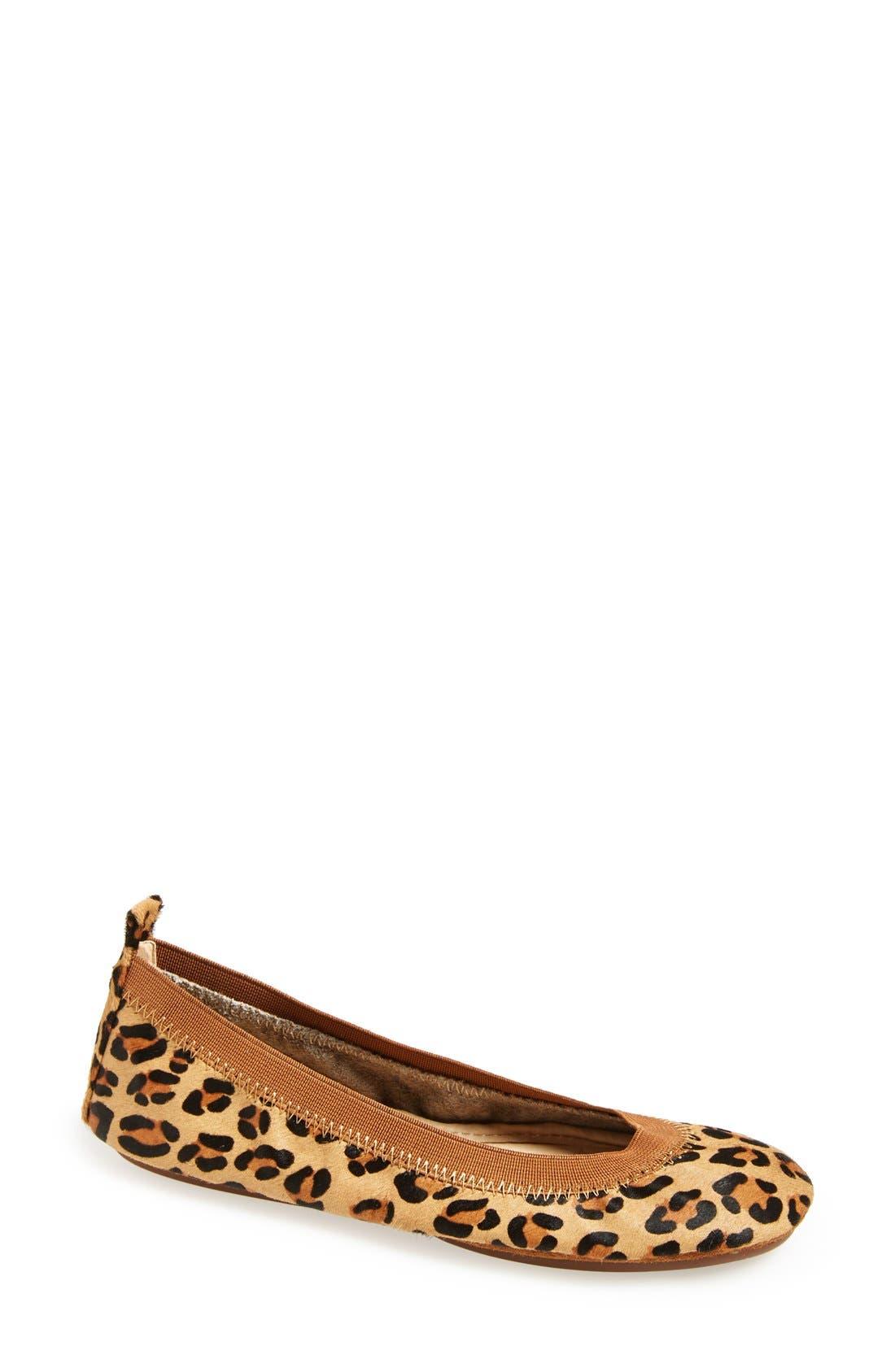 'Samara' Genuine Calf Hair Foldable Ballet Flat,                             Main thumbnail 1, color,                             Leopard