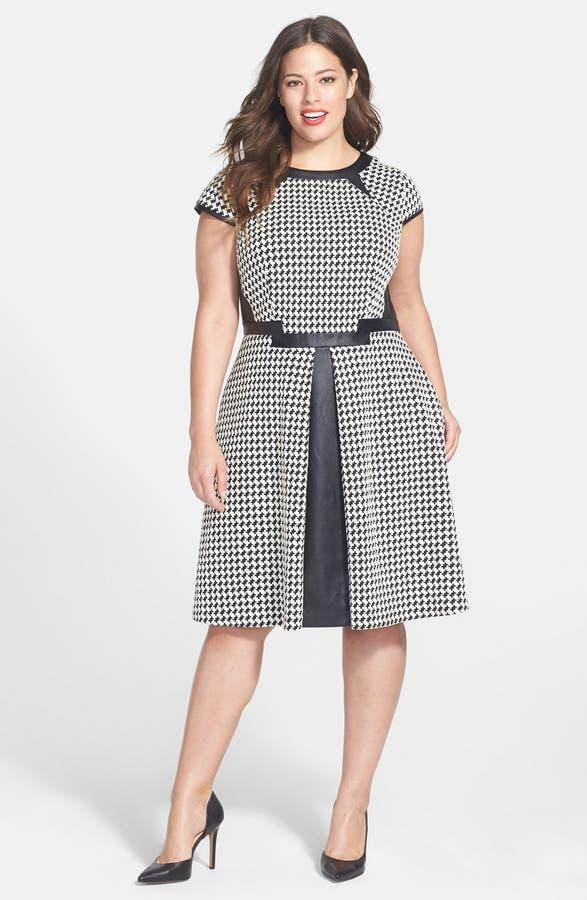 Julia Jordan Houndstooth Fit Flare Dress Plus Size Nordstrom