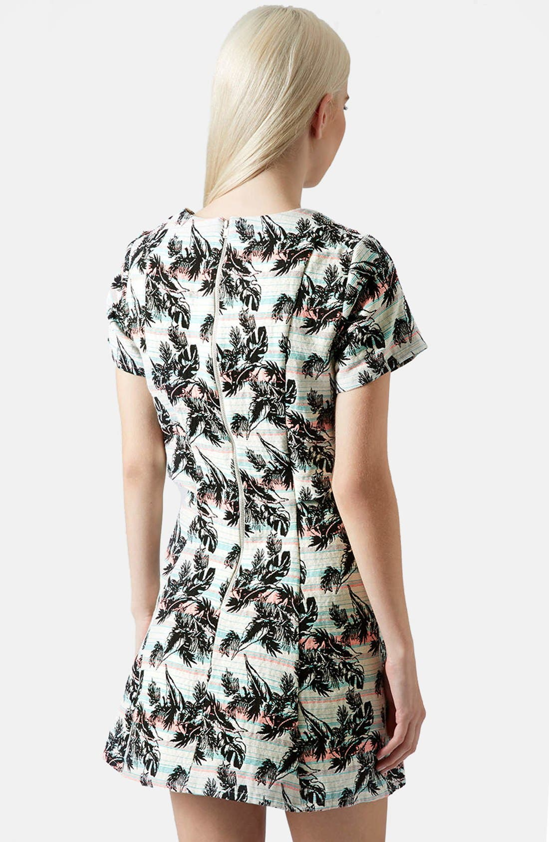 Alternate Image 2  - Topshop Leaf Print Crop Overlay Dress