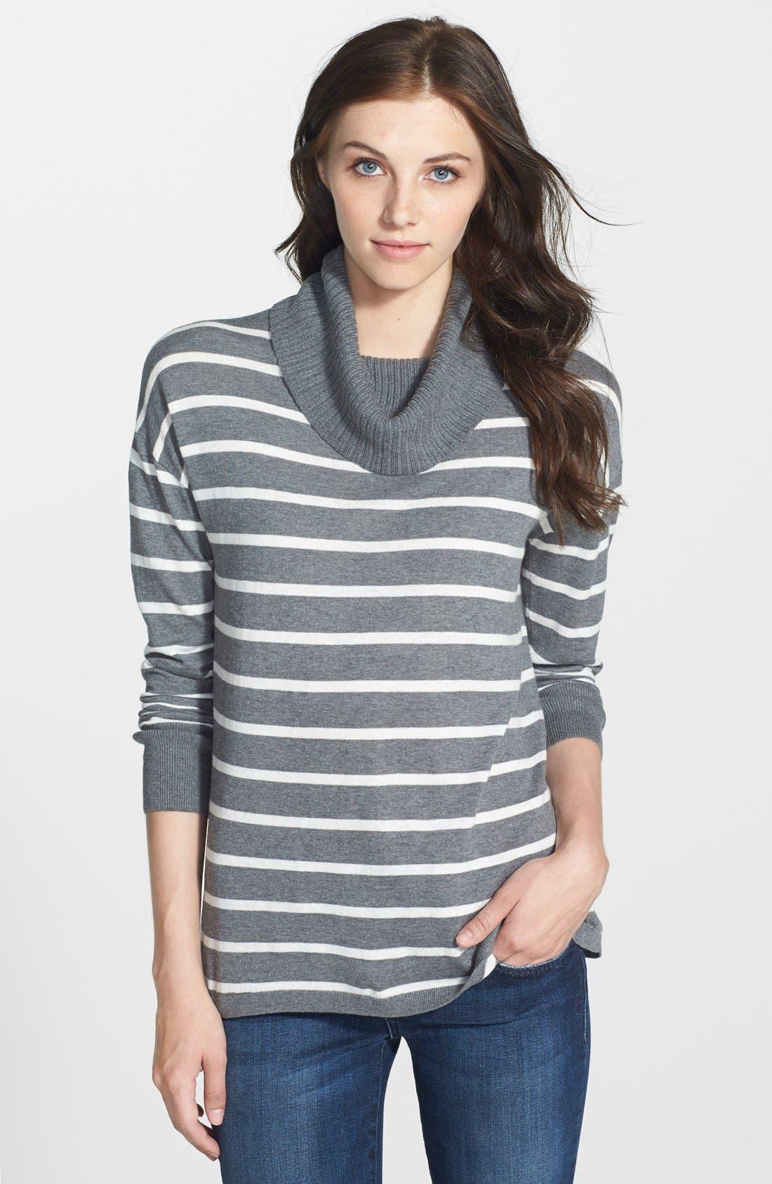 Alternate Image 1 Selected - Halogen® Relaxed Turtleneck Tunic Sweater (Regular & Petite)