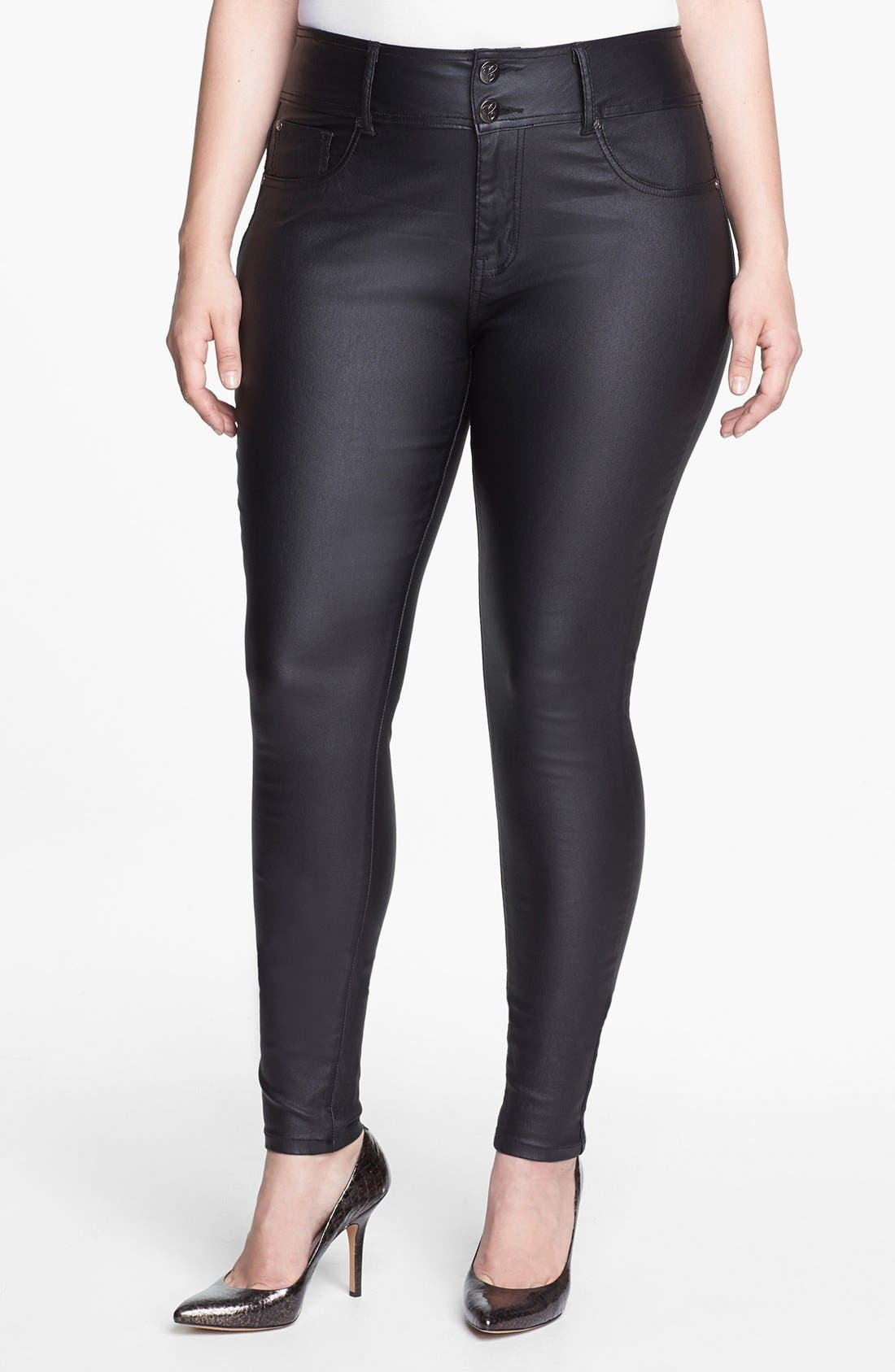 Wet Look Stretch Skinny Jeans,                             Main thumbnail 1, color,                             Black