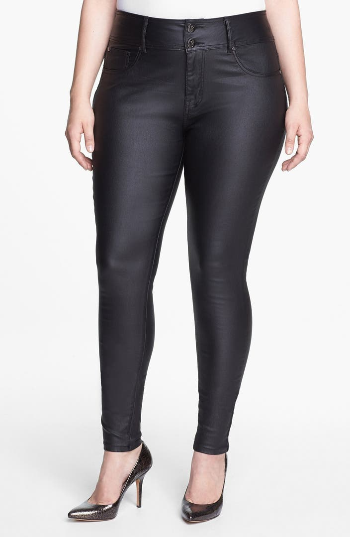 City Chic Wet Look Stretch Skinny Jeans Plus Size