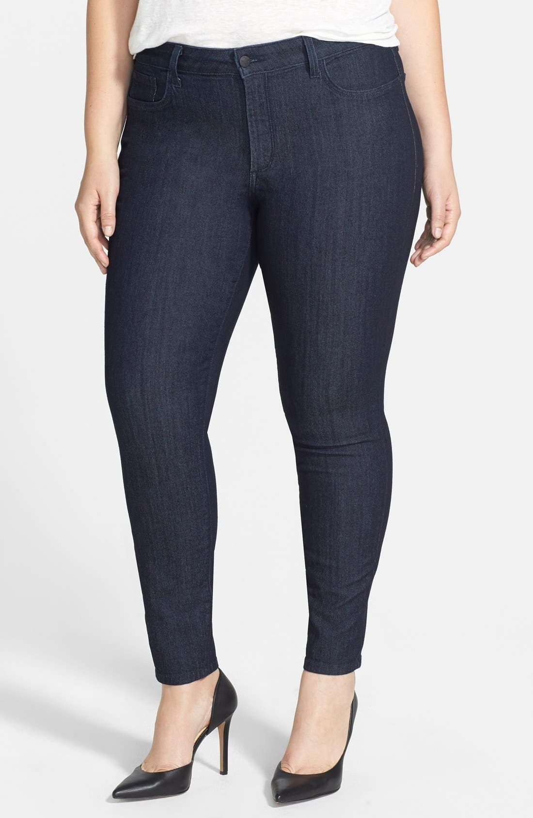 Alternate Image 1 Selected - NYDJ 'Ami' Tonal Stitch Stretch Skinny Jeans (Dark Enzyme) (Plus Size)