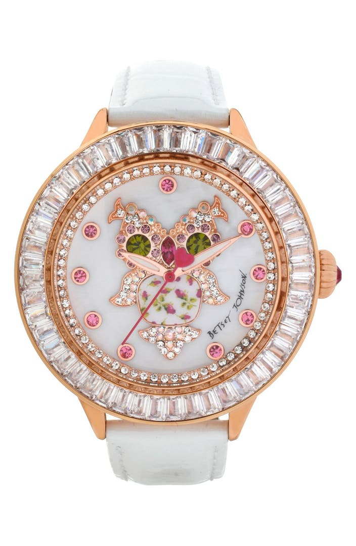 Betsey Johnson Owl Dial Leather Strap Watch 43mm Nordstrom