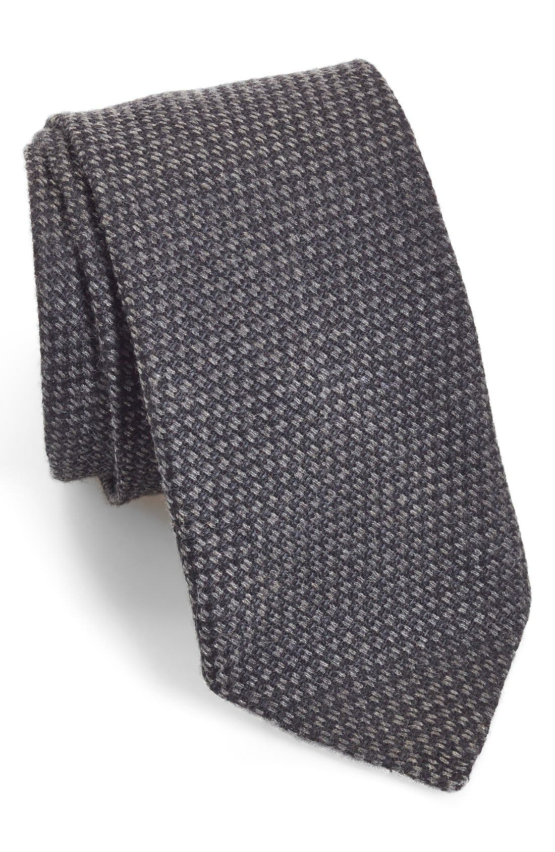 Woven Silk & Cotton Tie,                             Main thumbnail 1, color,                             Black