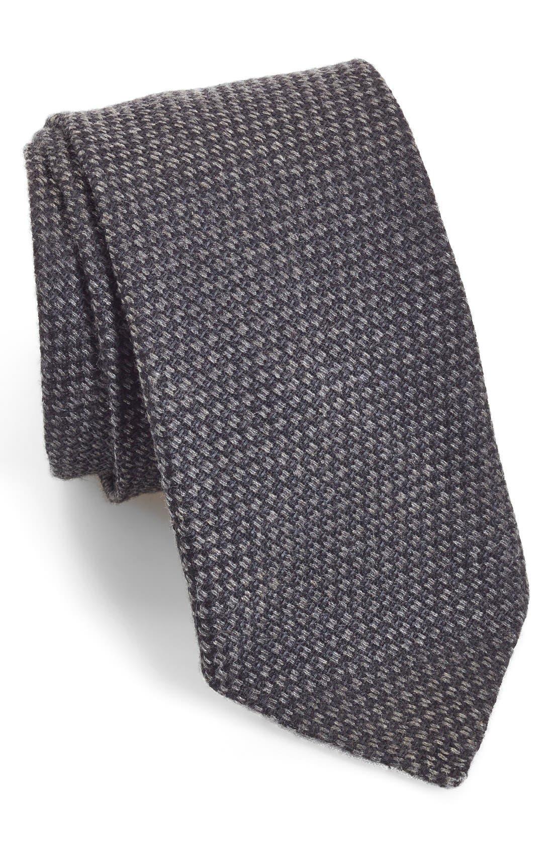 Woven Silk & Cotton Tie,                         Main,                         color, Black