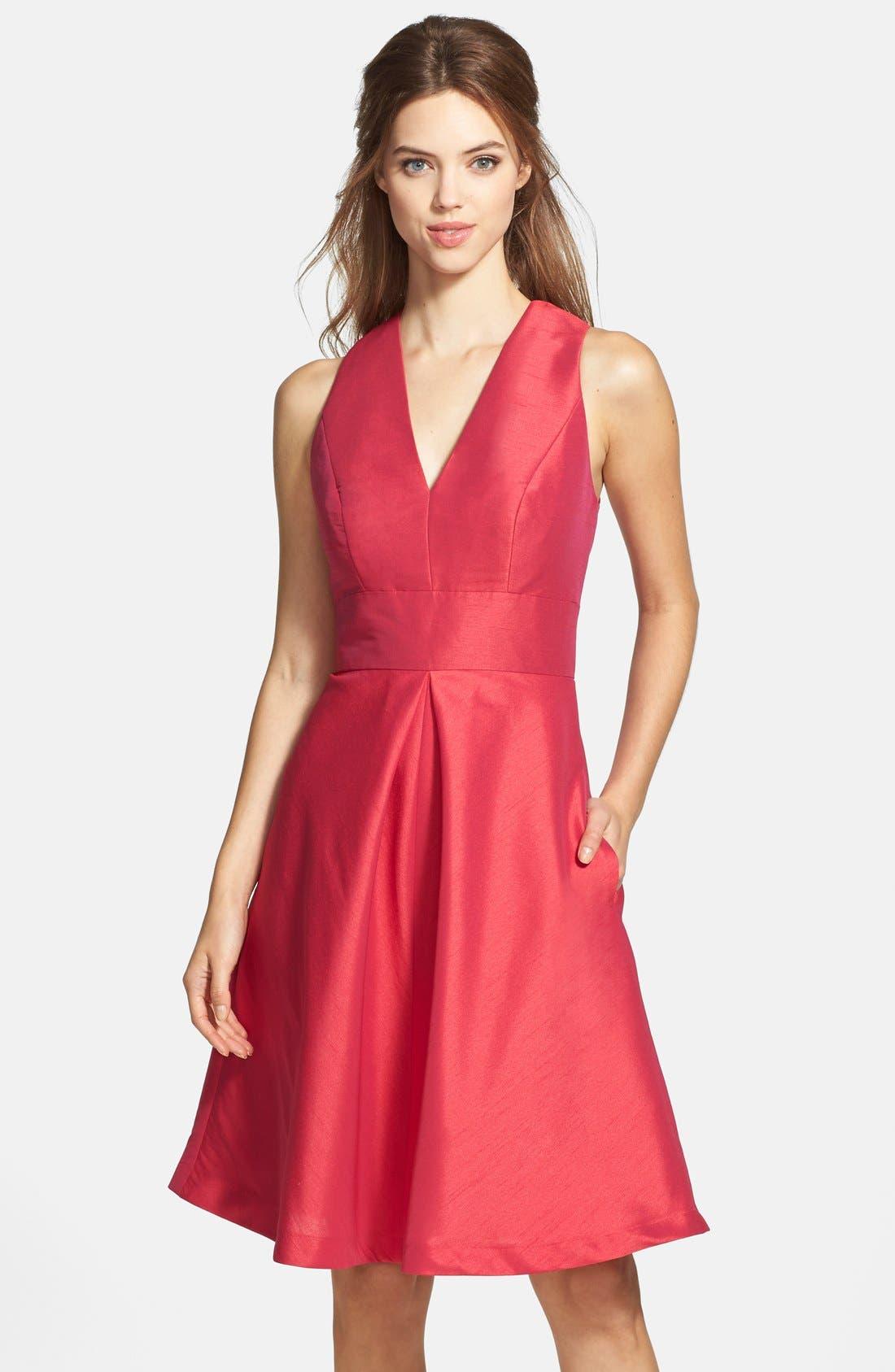 V-Neck Dupioni Cocktail Dress,                         Main,                         color, Sangria