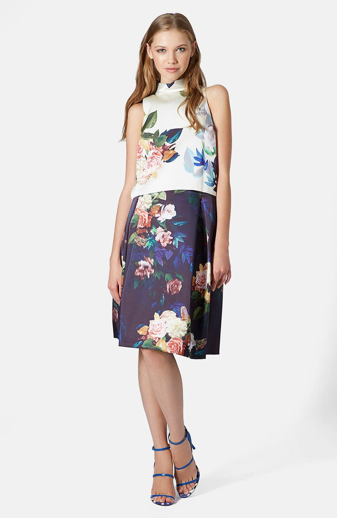 Alternate Image 4  - Topshop Blur Rose Print Midi Skirt