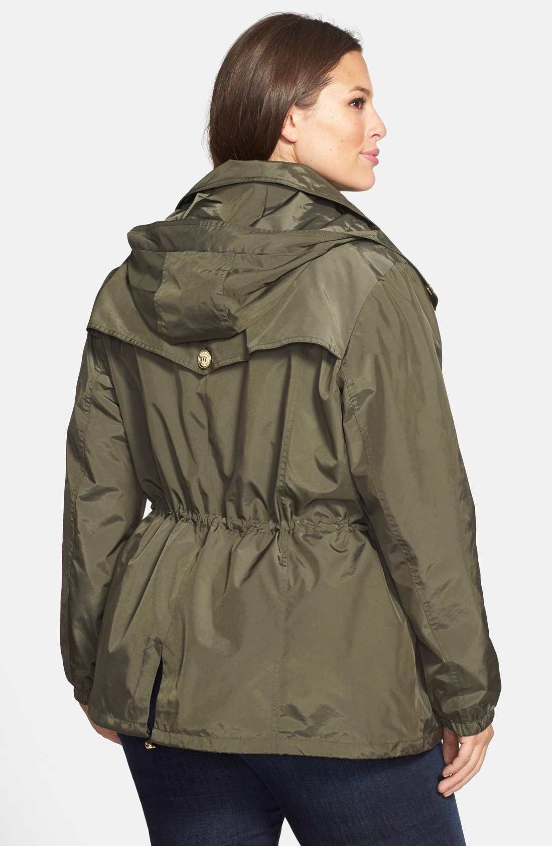 Alternate Image 2  - MICHAEL Michael Kors Double Breasted Anorak with Detachable Hood & Bib (Plus Size)